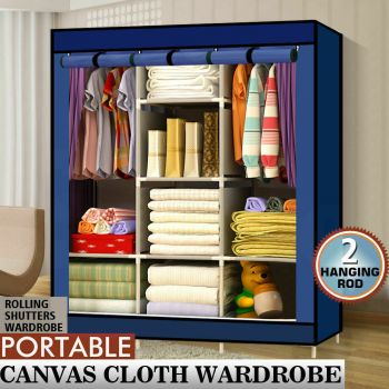 Large Portable Clothes Closet Wardrobe Storage Organizer with Shelves in Navy Blue