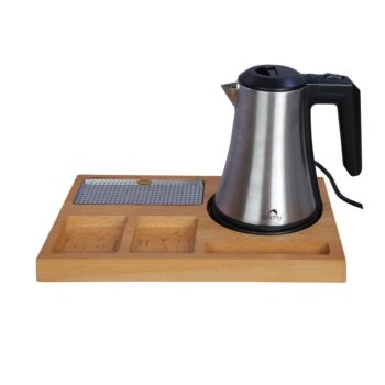 Dolphy Stainless Steel Electric Kettle with Bamboo Tray - 800ml