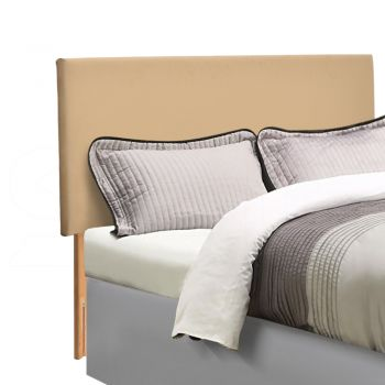 Levede PU Leather Bed Headboard with Wooden Legs Cream in Double Size