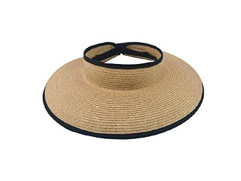 Women's Paper Braid Rolled Up Visor - Mixed Natural