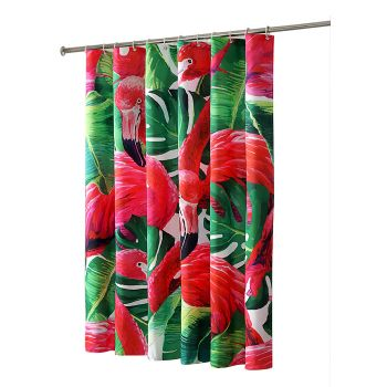 Flamingo Print Shower Curtain with 12 hooks 180 x 200 cms