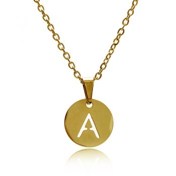 Personalized Gold Plated Stainless Steel Initial Letter Charm Pendant Necklace