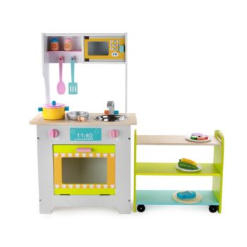 Wooden Pretend Play Kitchen Play Set w/ Kitchen Trolley and Full Set Cookware