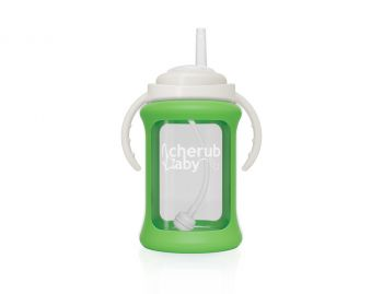 Wide Neck Glass Straw Cup with Colour Change Sleeve 240ml - Green