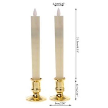 10 Pack - LED Battery Taper Stick Candle Gold Base Stand - Function Room House Homeware Decoration