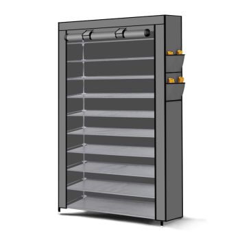 Levede 10 Tier Shoe Rack Portable Storage Cabinet Organiser in Grey Cover