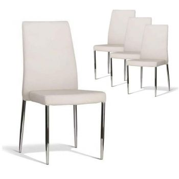 Set of 4 - Bailey Dining Chair - Stainless Steel Frame - Off White