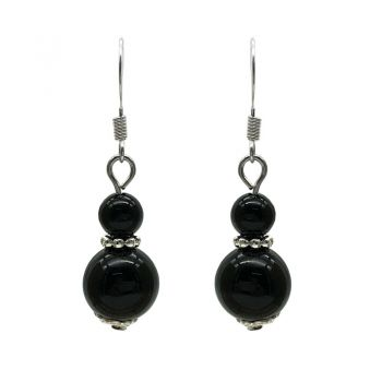 6-10mm Natural Round Black Agate Silver Plated Drop Earrings