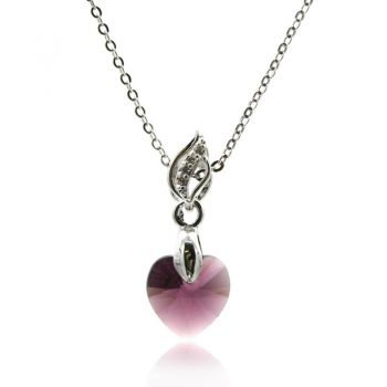 Gorgeous Xillion Heart Amethyst Colour Adorned with  Swarovski® Crystal & CZ Silver Plated Pendant Necklace