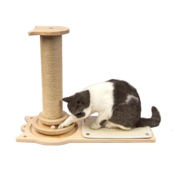 Wooden Cat Tree Cat Scratching Post Natural Hemp Post with Sisal Scratch Pad and Play Balls