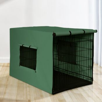 """i.Pet 42"""" Dog Cage With Cover Pet Crate Kennel Folding Collapsible Portable GR"""