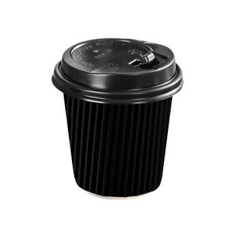 Disposable Takeaway Coffee Cups With Lids Black 100pcs 8oz