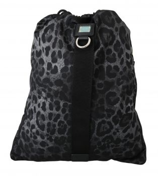 Dolce & Gabbana Black Leopard Adjustable Drawstring Nap Sack Nylon Bag