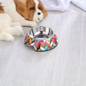Charlie's Melamine Printed Pet Feeders with Stainless Bowl -Stripe Large