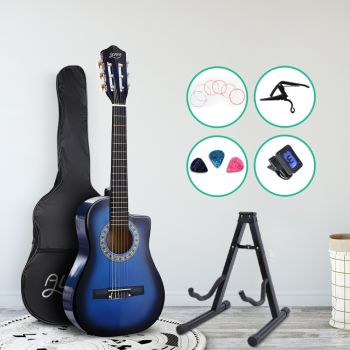 """Alpha 34"""" Inch Guitar Classical Acoustic Cutaway Wooden Ideal Kids Gift Children 1/2 Size Blue w/ Capo Tuner"""