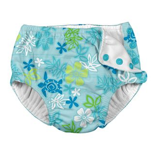 Snap Reusable Absorbent Swimsuit Diaper-Aqua Hawaiian Turtle