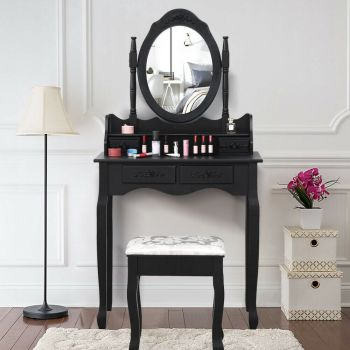 Levede Dressing Table and Stool Set with 1 Mirror and 4 Drawers in Black Colour