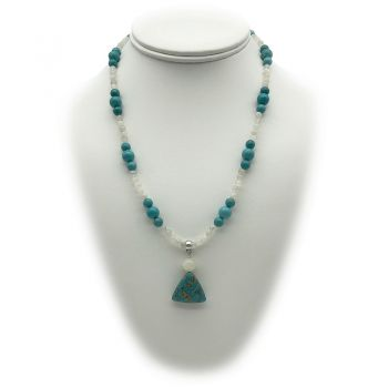 Natural Turquoise Blue & Moonstone Charm Beaded Necklace
