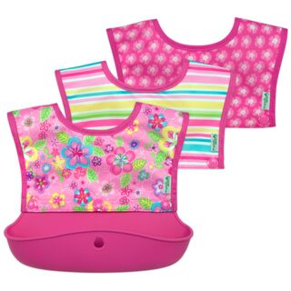 Snap & Go™ Silicone Food-catcher Bib 6-18 mo - Pink Flower Field