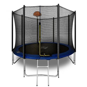 Pop Master 10FT Flat Trampoline w/ Basketball Hoop Ladder Kids Children Outdoor
