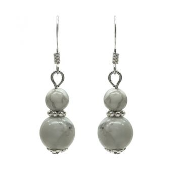 6-10mm Natural Round Howlite Silver Plated Drop Earrings