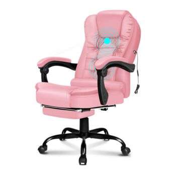 ALFORDSON Massage Office Chair FOOTREST Executive Gaming Racing Seat Pink PU