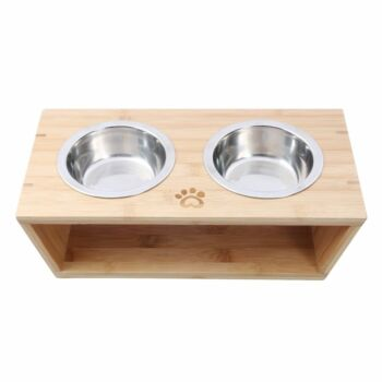 Charlie'S Pet Natural Bamboo Pet Feeder With Stainless Steel Bowls- Small