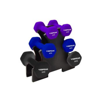 Verpeak Dumbbell Set Neoprene Weights With Logo, Anti-Slip with Cast Iron Core, for Home Gym Fitness Weightlifting 24 KG Set Rack Included
