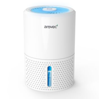 Arovec™ Air Dehumidifier 900ml Water Tank Portable & Compact Quiet Operation for Damp Air Mould Moisture in Rooms Night Light and Auto Shut-Off AroDry-900