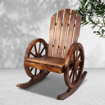 Wooden Wagon Rocking Chair Outdoor Garden Indoor Lounge Recliner Patio Furniture Gardeon