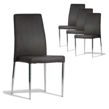 Set of 4 - Bailey Dining Chair - Stainless Steel Frame - Brown