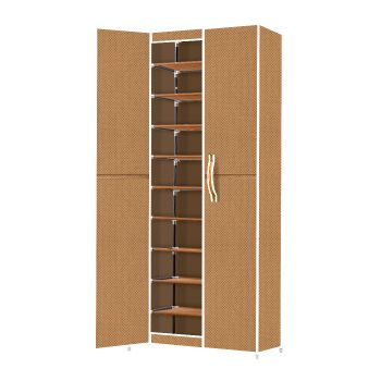 Levede Shoe Storage Organiser in Portable Rack Coffee 10 Tier Stackables