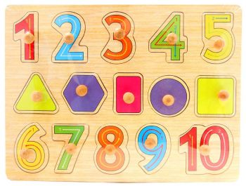 Wooden knob counting puzzle