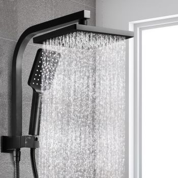 "Cefito 8"" Rain Shower Head Set Square Dual Heads Black High Pressure Hand Held"