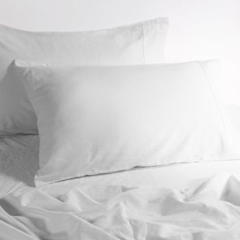 Double Bed Linen Cotton Bed Sheets Sets in White