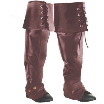 Lace Up Pirate Boot Covers - Brown
