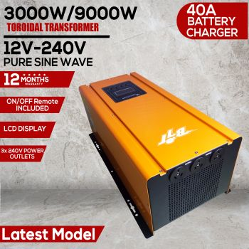 3000W 9000W PEAK 24V PURE SINE WAVE POWER INVERTER 40A CHARGER TOROIDAL TRANS