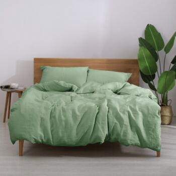 Natural Home European Flax Linen Quilt Cover Set Sage Queen Bed