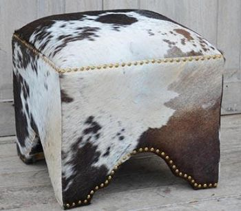 Hand Made Hand Crafted Cow Ottoman