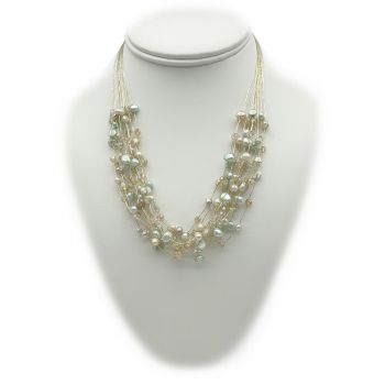 Crystal Glass, Fresh Water Pearls, Fresh Water Pearls (Dyed Lawn Green) & Japanese Silk Cord Necklace
