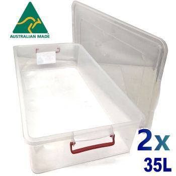 2x 35L Australian Made Premium Underbed Plastic Storage Tub Under Bed Box Large