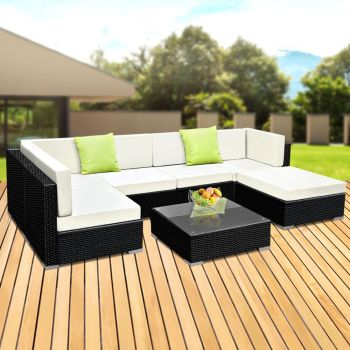 Outdoor Lounge Setting Furniture Sofa Set 7PC Wicker Rattan Garden Patio Pool Lounger Cushions Seat Couch Table Gardeon