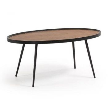 Nizab Coffee Table - Black Metal Frame - Walnut Top