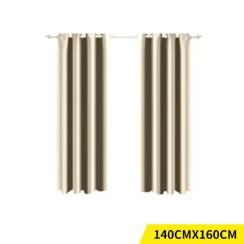 2x Blockout 3 Layered Eyelet Pure Fabric Curtain 140x160cm in Cream