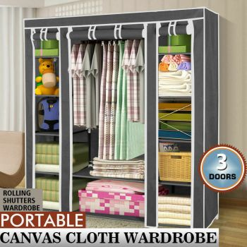 Large Portable Clothes Closet Wardrobe Storage Organiser with Shelves in Green