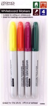 Markers Whiteboard Fine Tip (Coloured) 4pk