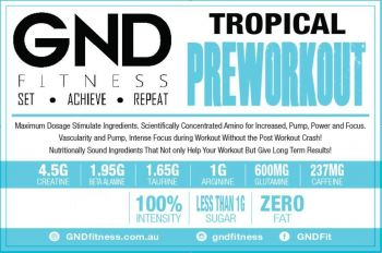 GND Pre-Workout 250G // Strawberry-Apple - Tropical 250g