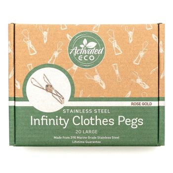 Rose Gold Stainless Steel Infinity Clothes Pegs Large Size - 20 Pack