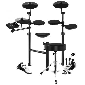 8 Piece Electric Electronic Drum Kit Drums Set Pad + Stool Kids Adults Foldable