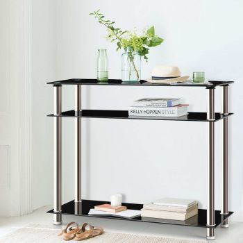 Hall Console Table Black Glass Hallway Entry Display Stainless Steel